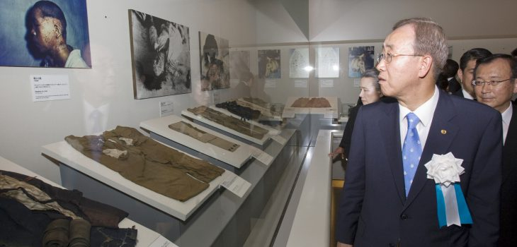 Secretary-General Ban Ki-moon and Mrs. Ban visit to Hiroshima Peace Memorial Museum.