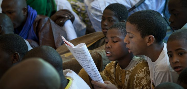 Children read the Prophet Panegyric during the celebrations for the Maouloud Festival in Timbuktu, northern Mali. This important and century old festival was forbidden last year by the Jihadists during the occupation.