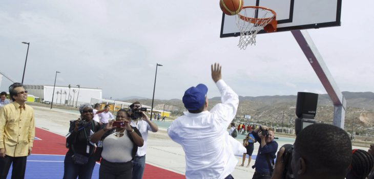 Secretary-General Ban Ki-moon  at opening Session Sports for Hope Centre, with H.E. Mr. Michel Joseph Martelly (President, HAITI) and Mr. Thomas Bach (President, IOC)