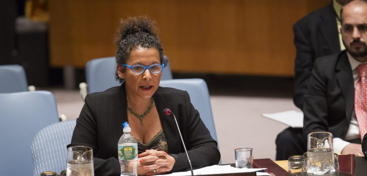 Mariane Pearl addresses the Security Council Meeting on the Protection of civilians in armed conflict.