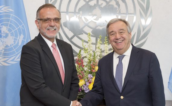 Secretary General Antonio Guterres meeting with Mr. Iv‡n Vel‡squez (Head of the International Commission against Impunity in Guatemala).